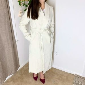 Jackets & Blazers - Shawl collar wrap wool belted trench coat
